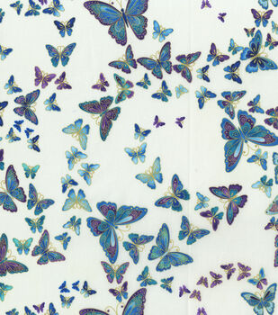 Premium Cotton Fabric-Floating Butterflies on Cream