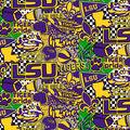 Louisiana State University Tigers Cotton Fabric-Pop Art