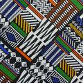 Cotton Shirting Fabric-Black Multi Global Patchwork