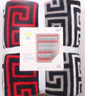 No Sew Fleece Throw 72\u0022-Black Red Gray Geometrics