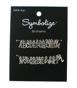hildie & jo Symbolize 26 pk Small Alphabet Charms-Silver