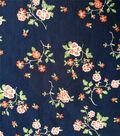 Cotton Shirting Fabric 57\u0027\u0027-Red Floral on Blue
