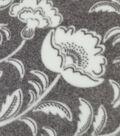 Speciality Fleece Fabric 59\u0022-Gray White Flowers
