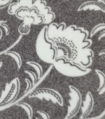 Luxe Fleece Fabric -Gray White Flowers