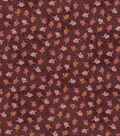 Harvest Cotton Fabric 44\u0022-Mini Tossed Wheat on Burgundy