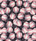 Anti-Pill Plush Fleece Fabric-Baseballs with Words