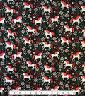 Doodles Christmas Cotton Fabric 57\u0022-Holiday Unicorn With Foil On Black