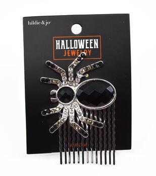 hildie & jo Halloween Jewelry Spider Hair Comb with Rhinestones