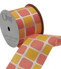 Offray 2.25\u0022 x 9\u0027 Geo Ribbon-Orange/Yellow/White