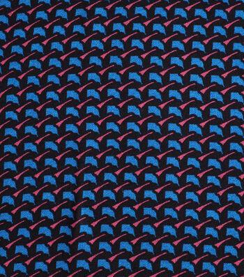 Silky Crepe Fabric-Blue Geometrics