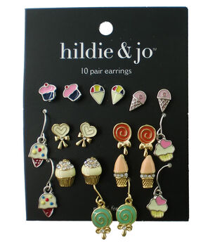 hildie & jo 10 Pair Multi Sweet Earrings-Gold & Silver