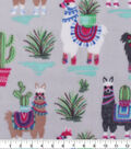 Anti-Pill Plush Fleece Fabric-Desert Llama on Gray
