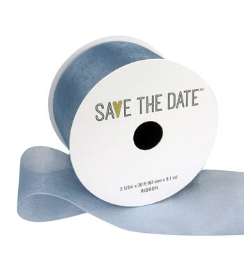 """Save the Date 2.5"""" x 30ft Ribbon-Grey Blue Sheer"""