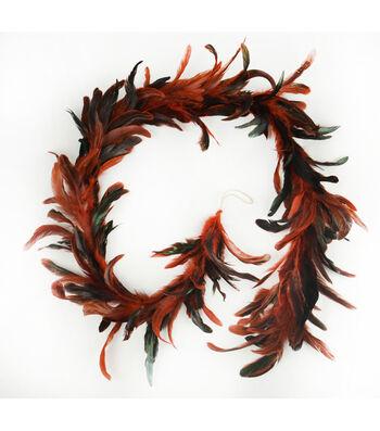 Blooming Autumn Feather Garland-Burgundy