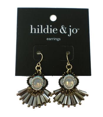 hildie & jo Fan Dangle Gold Earrings-Beads & Iridescent Crystal