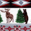 Snuggle Flannel Fabric -Winter Animal Stripe