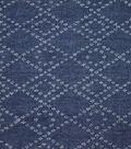 Demim Medium Wash Cotton Fabric-Punched Diamond