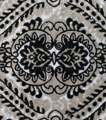 "Casa Embellish Sequin Fabric 51""-Gold & Black"