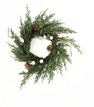 Handmade Holiday 10'' Cypress, Pinecone & White Berry DIY Wreath