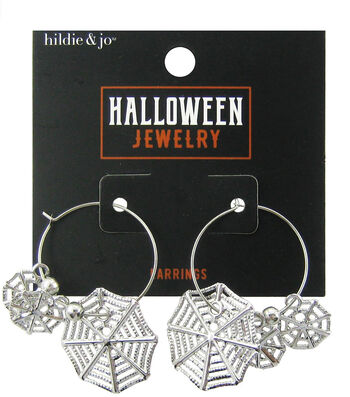 hildie & jo Halloween Spider Web Hoop Earrings