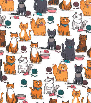Snuggle Flannel Fabric -Kitty, Mice & Yarn