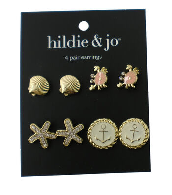hildie & jo 4 Pack Nautical Gold Earrings-Coral & Clear Crystals