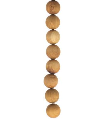 """hildie & jo 8"""" Strung Bead Cedar Wood Round-18mm Natural"""