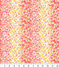 Keepsake Calico Cotton Fabric-Coral Floral Stripes