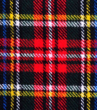 Shirting Cotton Flannel Fabric-Black, Red, Green & Yellow Plaid