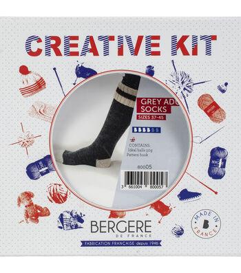 Bergere De France Work Socks Kit-Gray, Off-White & Red