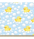 Nursery Fleece Fabric-Bubble Duckie