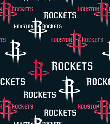 Houston Rockets Fleece Fabric -Tossed Print