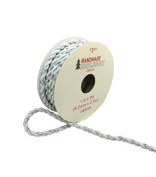 Handmade Holiday Christmas Ribbon 1/6''x9'-Blue & Iridescent Silver