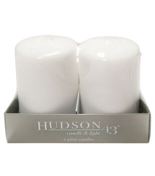 "Hudson 43 Candle & Light Collection 2pk 3""x4"" Unscented Pillar Candles-White"