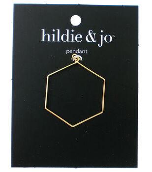 hildie & jo 1.25''x1.5'' Metal Open Hexagon Pendant-Gold