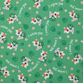 St. Patrick\u0027s Day Cotton Fabric-I Meow You & Glitter Clovers on Green