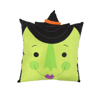 Maker's Halloween 18''x18'' Novelty Pillow with Hat-Witch