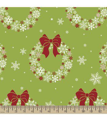 Christmas Print Fabric-Snowflake Wreaths
