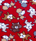 Blizzard Fleece Fabric 59\u0022-Scribbled Pups