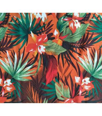 Amaretto Linen Fabric -Tropical Floral on Orange