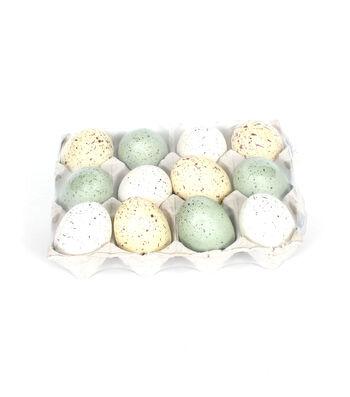 Easter Decor 12 pk Styrofoam Eggs in a Box-Speckled