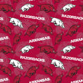 University of Arkansas Razorbacks Cotton Fabric-Tone on Tone