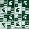 Michigan State University Spartans Cotton Fabric -Block