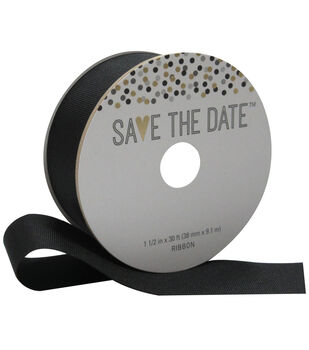 Save the Date 1.5'' X 30' Ribbon-Black Grosgrain