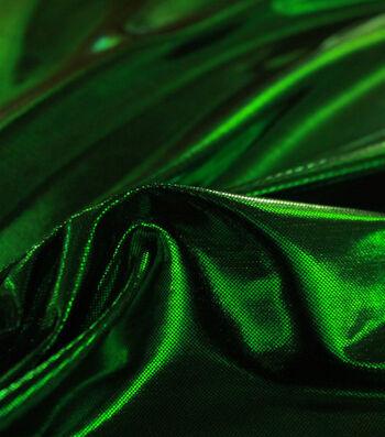 Metallic Apparel Bodre Fabric 44''-Green Foil Dot