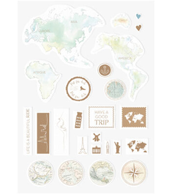 Alexandra Renke 25 pk Travel Stickers-World Globe