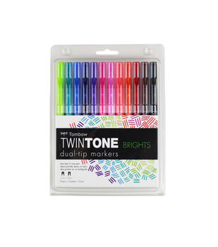 Tombow TwinTone 12 pk Markers-Brights