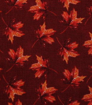 Harvest Cotton Fabric-Falling Watercolor Leaves