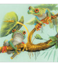 RIOLIS 7.75\u0027\u0027x7.75\u0027\u0027 Stamped Cross Stitch Kit-Frogs