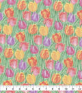 Easter Cotton Fabric-Watercolor Tulip Field